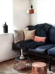 copper and black living room decoratin ideas with black leather sofa black leather living room