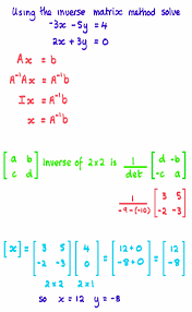 solving equations using inverse of matrix
