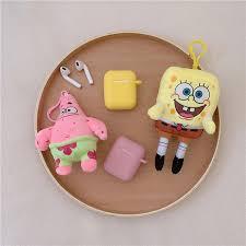 Cartoon Plush Spongebob Keychain Pendant + <b>Silicone Earphone</b> ...