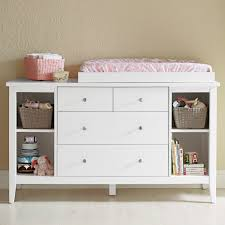 custom modern baby changing table with rattan toy basket storage and doll shelves with bookshelf plus drawer painted with white color and topper for dresser baby modern furniture
