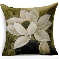<b>Chinese</b> style Lotus Linen Cushion Cover <b>Ink</b> Painting <b>Retro</b> Square ...