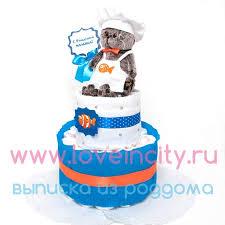 """Торт из памперсов с мягкой игрушкой """"Басик"""""""