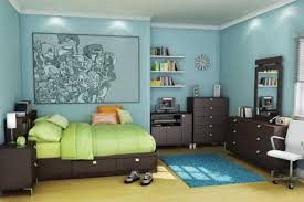 modern blue nuance inside the modern bedroom with green bed can add the natural fresh nuance inside the modern house design ideas with modern lighting blue kids furniture
