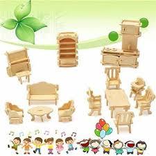 Bangbang 34 Pcs 3D <b>Diy Wooden Miniature Dollhouse</b> Furniture ...