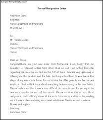 sample of formal resignation letter   sample templatessample of formal resignation letter