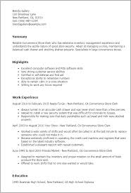 Resume Templates  Convenience Store Clerk My Perfect Resume