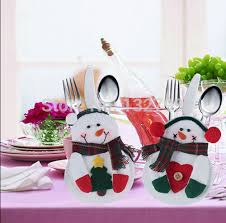 household dining table set christmas snowman knife: pcs santa snowman silverware bag knife fork spoon cutlery holder xmas gift christmas tableware dining table