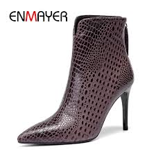 <b>ENMAYER Women ankle boots</b> women pointed toe thin heel zipper ...