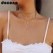 <b>docona Boho Gold Color</b> Flower Sword Pendant Necklace for ...