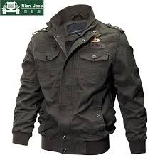 2018 Plus Size Military Jacket <b>Men Spring Autumn</b> Cotton Pilot ...
