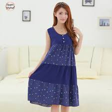 <b>2019</b> Navy <b>Nightgown Nightdress Cotton</b> Sleepwear Women ...