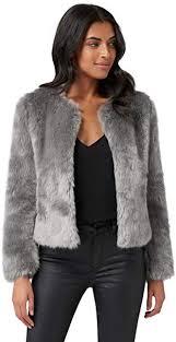 Ever <b>New</b> Womens Angel Cropped <b>Faux Fur Coat</b> - Grey Mist at ...