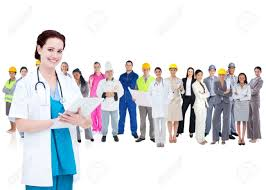 pretty doctor standing in front of diverse career group on white pretty doctor standing in front of diverse career group on white background stock photo 18129610