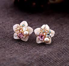 New Korean <b>Fashion</b> Mother <b>Shell</b> Plum Flower Crystal <b>Stud</b> ...