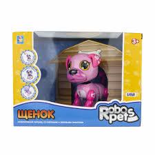 Интерактивная <b>игрушка 1Toy Robo</b> Pets Робо-щенок, розовый ...