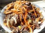 Салат из куриных желудочков и моркови