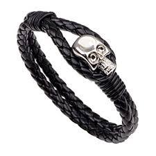 Buy FuSi Men's Cowhide <b>Braided Skull</b> Bracelet Double Layer Alloy ...