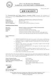 job vacancy national anti poverty commission technical officer iv to iv news and feature writer cprc extended