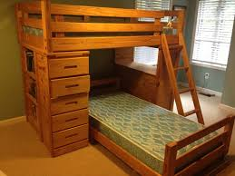 m light brown lacquer teak wood bunk bed with dresser and ladder built in desk having single side open shelves as well as bed bunks and lofts plus bump bunk bed dresser desk