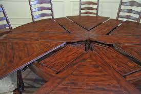 expandable dining table ka ta: rustic expandable table with leaves folded but not stored away
