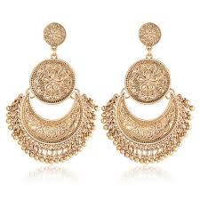<b>Vintage Ethnic</b> Tassel <b>Flower</b> Moon Drop Dangle Women <b>Earrings</b> ...