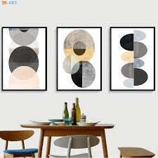Pastel Wall <b>Art</b> Geometric <b>Prints</b> Minimalist Abstract <b>Poster Canvas</b> ...