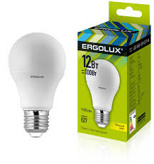 <b>Лампочка Ergolux LED</b>-A60-12W-E27-3K, Теплый белый свет, E27 ...