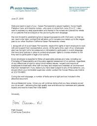 welcome back nurses kaiser permanente welcome back letter to nurses