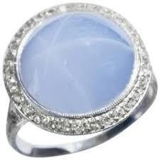 1930 JE Caldwell Safira Estrela Diamante Platinum Anel (met ...