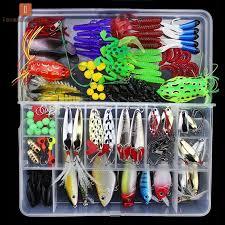 LV   <b>141 Pcs</b>/Set <b>Fishing Lures Kit</b> Hooks Crankbait Plastic Worms ...