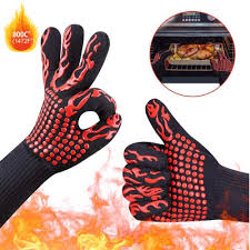 662°F <b>Heat Proof Resistant</b> Barbecue BBQ Grilling Gloves Kitchen ...