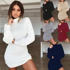 2019 New <b>Vestidos Autumn Winter</b> Women Sweater Dress Rib Solid ...