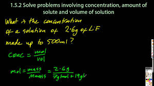 solve problems using concentration amount of solute and 1 3 solve problems using concentration amount of solute and volume sl ib chemistry
