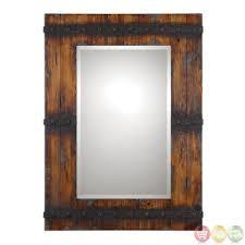 wood bathroom mirror digihome weathered: stockley country barn door inspired wood mirror with rustic metal