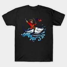 <b>Pirate</b> Riding Shark <b>Funny</b> Parrot Ocean Sailor <b>Cartoon T-Shirt</b>