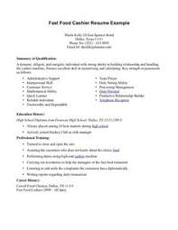 Resume, Resume templates and Fast foods on Pinterest resume for fastfood | Fast Food Cashier Resume