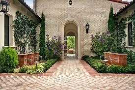 herringbone brick patio