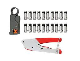 FLK Tech Crimping Tool Set <b>Compression</b> Tool and Cable Stripper ...