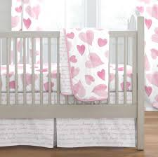 <b>Pink Watercolor</b> Hearts <b>3</b>-<b>Piece</b> Crib Bedding Set | Carousel Designs
