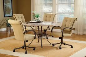 casual dining chairs with casters: image of black dining chairs with casters