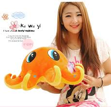 HOT OFFER big lovely creative orange octopus toy cute plush ...