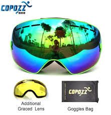 professional weakness promotion shop for promotional professional copozz brand professional ski goggles 2 double lens anti fog weak light anti fog spherical skiing glasses men women snow goggles
