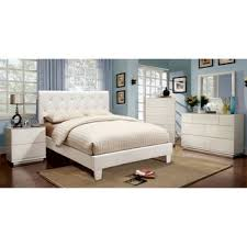 furniture of america mircella 4 piece white leatherette bedroom set bedroom white furniture