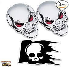 New 3D Metal Car Sticker Skull <b>Skeleton Motorcycle</b> Logo Badge ...