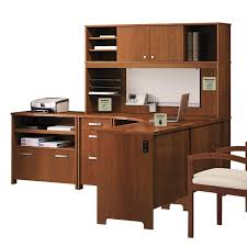 bush furniture buena vista 60 in l shaped desk with hutch madison cherry desks at hayneedle bush desk hutch office