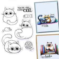DIY Crafts Cute <b>Cat Transparent Clear Rubber</b> Stamp Silicone ...