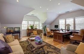 two sided desk home office traditional with accent window light wood animal hide rugs home office traditional