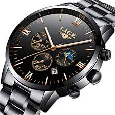 <b>Mens</b> Watches <b>LIGE</b> Stainless Steel Black Classic Luxury Business ...