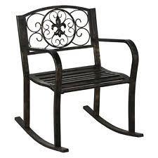 iron glider black patio new patio metal rocking chair porch seat deck outdoor backyard glider
