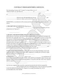 sample bartending contract form template bartending sample bartending contract form template